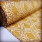 Art Deco Damask Rhombus Diamond Print Fabric Floral Curtain 140cm wide Mustard