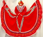 5 de mayo Jalisco red Mexican dance dress Folklorico Rodeo Adult vtg all szs NWT