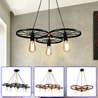 Retro Wagon Wheel Chandelier Cabin Lodge Decor Rustic Light Fixture Ceiling lamp