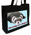 Ferret Cotton Shopping Bag, Choice of Colours, Black, Cream, pink