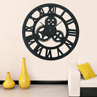 Large Outdoor Garden Wall Clock Metal Roman Numeral 40/58/60CM Round Face Black