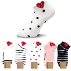 Kikiya Women Ankle Socks Lot Heart Dot Stripe Cotton Fashion Casual Crew
