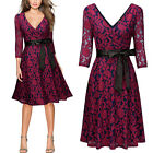 Womens Deep V Floral Lace Dress with Bow For Formal and Semi Formal Events