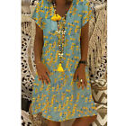 Women Boho V-Neck Linen Maxi Dress Short Sleeve Casual Kaftan Tunic Plus Size US
