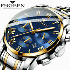 FNGEEN Luxury Mens Watches Quartz Stainless Steel Analog Sports New Wrist Watch image