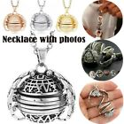 Expanding Photo Locket Necklace Silver Ball Angel Wing Pendant Gift Key Chain