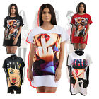 Womens Girls Oversized Baggy Casual Graphic Slogan Printed T-Shirt Dress Top