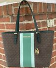 Michael Kors Jet Set Medium Carryall Tote MK Signature Brown Vanilla Pink Black image