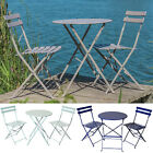 Padstow Folding Bistro Set Metal Table Chairs Balcony Garden Furniture Outdoor