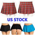 US _ Women Lingerie Cosplay Role Play Pleated Mini Skirt Schoolgirl Short Dress