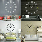Modern Large Wall Clock DIY Stick On 3D Metal Frameless Numeral Home Decoration