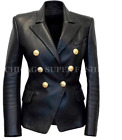 Women's Black Slim Fit Kim Kardashian Double Breasted Real Leather Blazer Jacket