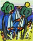 Signed PETER KEIL German Neo Expressionist Sailboats Oil Painting LISTED NR
