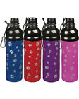 Stainless Steel Dog Water Bottle 16 oz travel bowl pet blue red pink purple