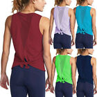 Yoga Workout Complex Shirts Top Womens  Activewear Sexy Open Back Sports Tank Tops