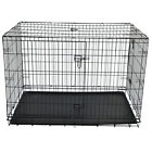 "48""/42""/36"" Dog Cage Large Puppy Pet Training Carrier Folding Metal Crate Cage"