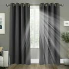 PAIR OF THERMAL BLACKOUT CURTAINS READY MADE EYELET RING TOP+ TIE BACKS BEDROOM