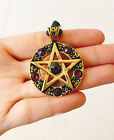 Pentagram 5 Pointed Star Golden Bronze Charm Crystal Necklace Pendant Jewelry