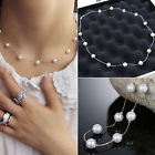 Women Charm Jewelry Pendant Chain Faux Pearl Choker Short Necklace Novelty