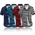 US Fashion Men's Summer Casual Dress Shirt Mens Plaid Short Sleeve Shirts Tops image
