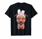 Chocolate Pit Bull Terrier In Easter Bunny T-Shirts Cotton M-3XL US Men's Trend