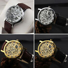 Popular Men Date Mechanical Skeleton Analog Stainless Steel Leather Wrist Watch image