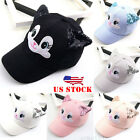 US Baby Summer Cap Cat Ears Cartoon Print Sun Hats For Boys Girls Baseball Cap