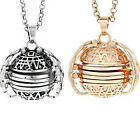 Silver Ball Expanding Photo Locket Necklace Angel Wing Pendant Memorial
