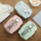 Microwave Wheat Straw Bento Lunch Box Spoon Food Storage Container Kids Adult