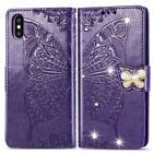 Butterfly Luxury Bling Diamonds Leather Wallet Stand Phone Case With Strap  #1