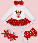 US Infant Christmas Outfit Girl Baby First Xmas Party Romper Tutu Dress Clothes