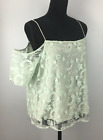 Hinge Women's Top Spaghetti Strap Cold Shoulder Embroidered Mesh Green NWT