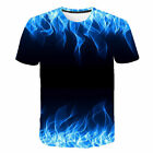 US Mens FASHION T-Shirt 3D Fire Flame Graphic Full Print Short Sleeve Tee Tops image