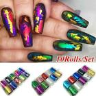 10Rolls/Set Starry Sky Laser Nail Foil Marble Holographic Nail Transfer Fast