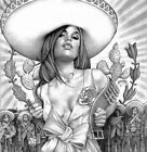 Charra Girl by Mouse Lopez Sexy Latina Mexican Rolled Canvas or Paper Art Print