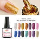 MEET ACROSS UV Holographic Glitter Sequins Gel Nail Polish Soak Off Top Coat 8ml $1.2 USD on eBay