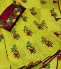 Bollywood Designer Chanderi Cotton Saree Party Wear New Embroidery work sari SN