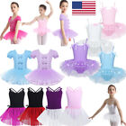 US Girls Ballet Dance Tutu Skirts Gymnastics Skating Leotards Gym Dress Costumes