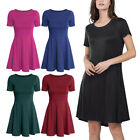 Women's Round Neck Casual Short Sleeve Solid Loose Top Shirt Blouse Dress M~2XL