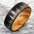 Kyпить 8mm Tungsten Black Forest Tree Setting with Olive Wood Inside Wedding Band Ring на еВаy.соm