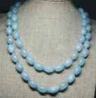 Kyпить Pretty 10x14mm Light Blue Aquamarine Rice Shape Gemstone Beads Necklace 18-48'' на еВаy.соm