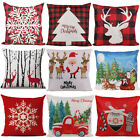 PACK 2 Merry Christmas Pillow Case Deer Snowflake Xmas Tree Cushion Cover Cotton image