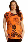 New Womens Plus Size T-Shirt Ladies Floral Print Top Turn-up Sleeve Long-Line