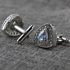 Vintage Silver Plated Mens Crystal Wedding Party Gift Shirt Cuff Links Cufflinks