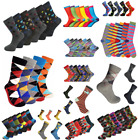 6 Pairs Mens Multicoloured Socks Casual Smart Suit Formal Work Golf Adults 6-11