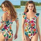 AVON Ladies Womens One Piece Floral Print Swimming Costume Swimsuit Size 14 16