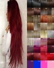 Hair Extensions Clip in real Human Feel Grey white Burgundy Plum Dark Red Copper
