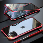 For iPhone 11 Pro Max 360 Shockproof Metal Magnetic Double Tempered Glass Case