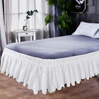 Elastic Lace Embroidered Bed Ruffle Skirt Valance Easy Fit Wrap Around Soft New image