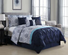 7 Piece Kattya Blue Reversible Comforter Set image